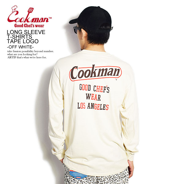 COOKMAN LONG SLEEVE T-SHIRTS TAPE LOGO -OFF WHITE-