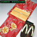 JK brand yukata set red in morning glory pattern ( brand yukata belt shoe ornament cord, set of 4 )