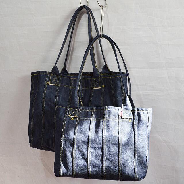 巻き縫いデニムトートバッグ(小)(ROLLED SEAM DENIM TOTE BAG)