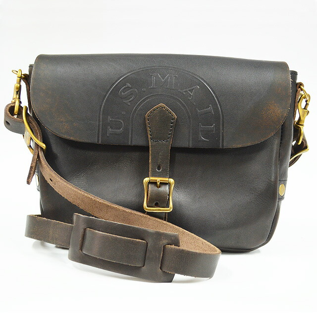LEATHER POSTMAN MINI SHOULDER BAG VS-249L 刻印BLACK