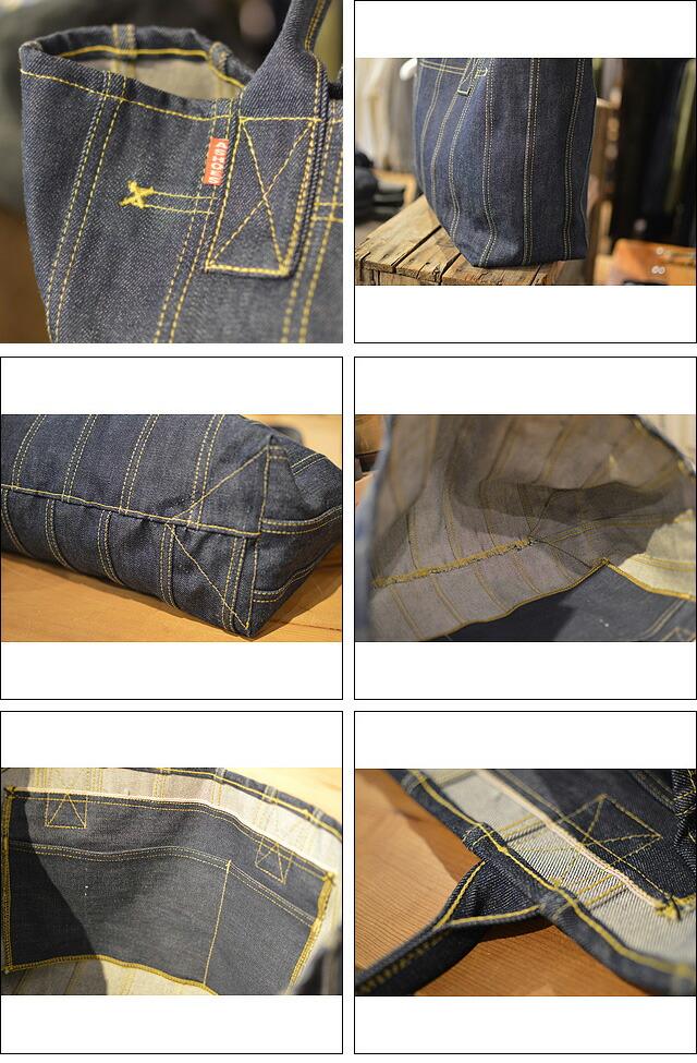 巻き縫いデニムトートバッグ(ROLLED SEAM DENIM TOTE BAG)