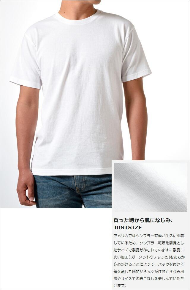 ジャパンフィット ブルーパック クルーネックTシャツ(2枚組)【H5210】 WHITE