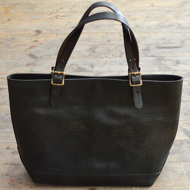 LEATHER TRAVEL TOTE BAG BLACK