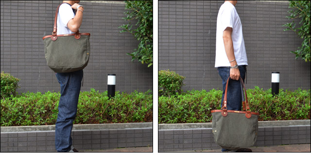 CANVAS×LEATHER POSTMAN TOTE BAG(ASHOES別注) OLIVE