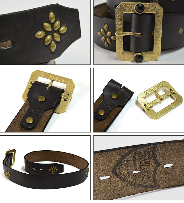 BLK-H03 1.75inch BELT(HORWEEN CHROMEXCEL) BLACK/BRASS