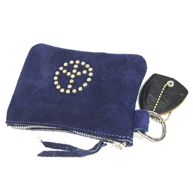 SUEDE POUCH WALLET W/RING #PEACE NAVY
