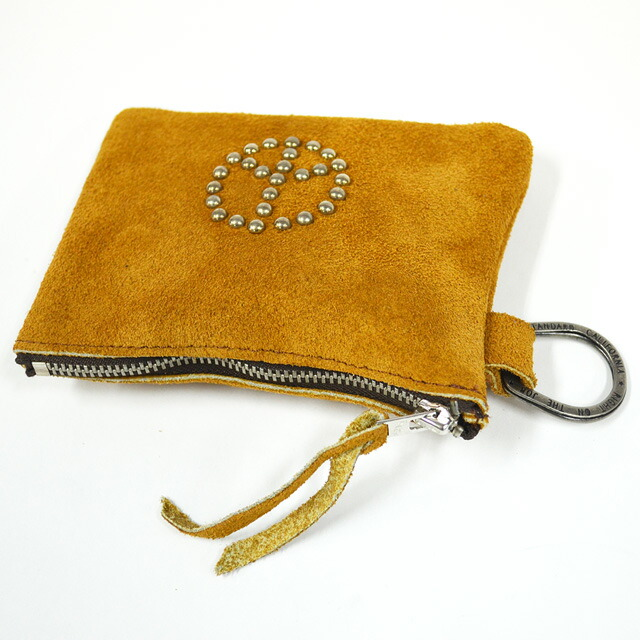 SUEDE POUCH WALLET W/RING #PEACE L.BROWN
