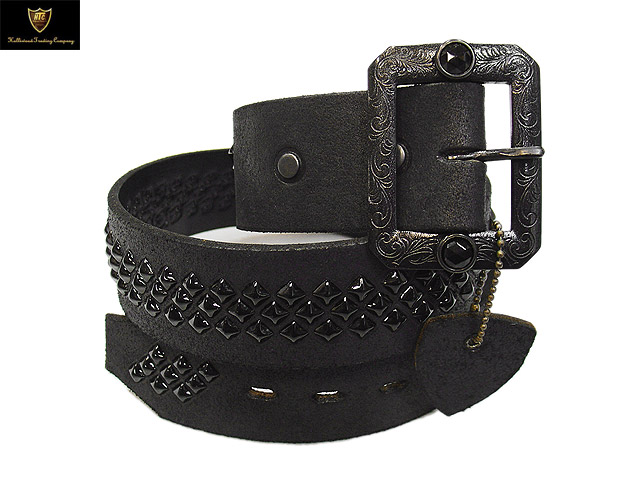 #BT013 ROUGH OUT LEATHER 1.75inch BELT BLACK