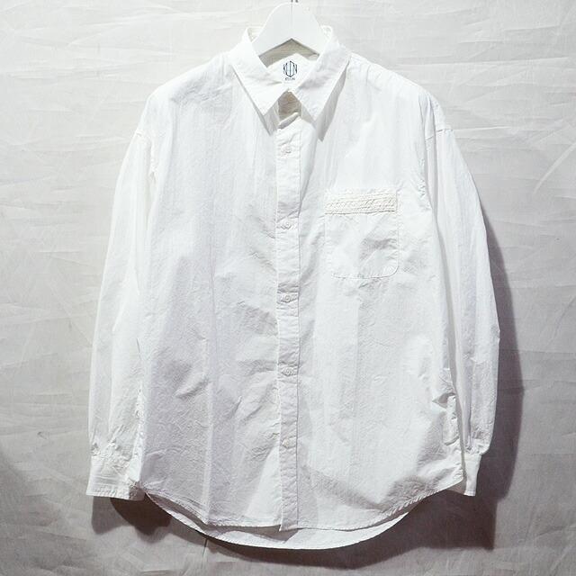 ポケット縁刺し子ホワイトシャツ WHITE 1801S01#A