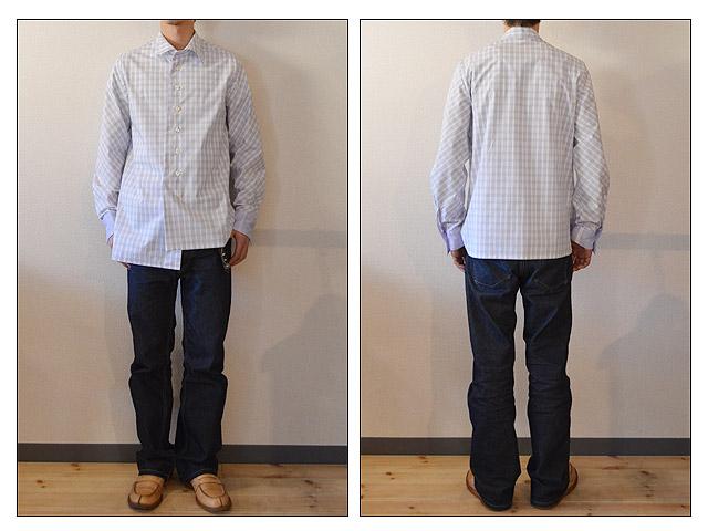 warp&layer twist collar shirt cuff style spring blue