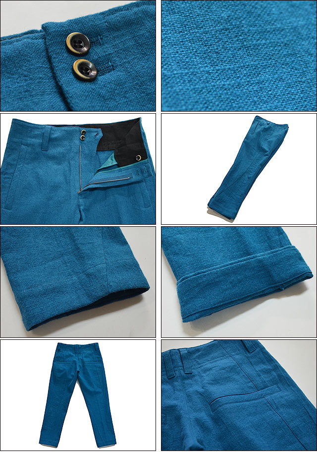 cotton linen slub yarn canvas twist seam soft tapered pants turquoise