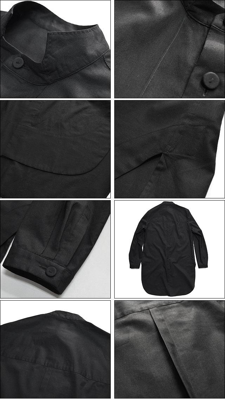 綿ボイル スタンドカラーオーバーシャツ Black