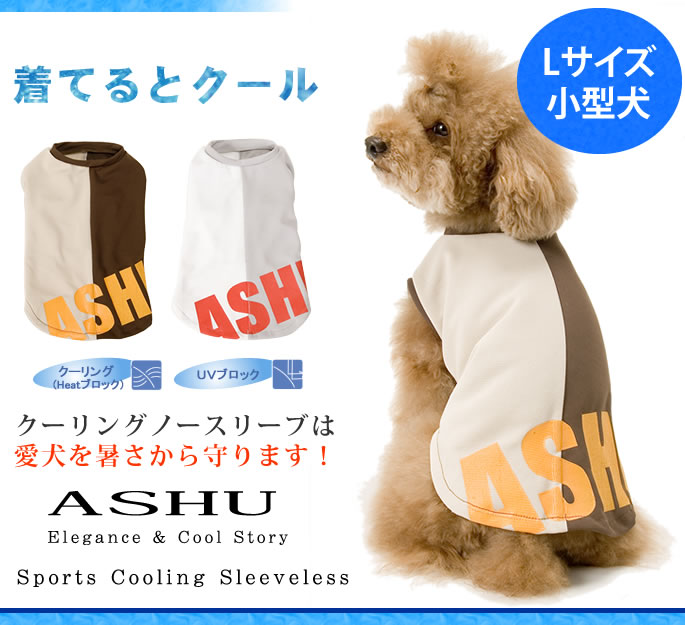 The cooling no sleeve protects a pet dog from heat