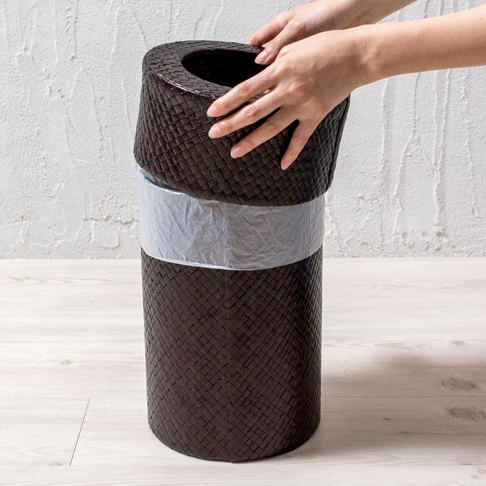 パンダンで編まれたモダンな丸いごみ箱 ダストボックス 縦型 くずかご おしゃれ リビング バリ雑貨 モダン アジアン雑貨 ダークブラウン ゴミ箱 インテリア 寝室