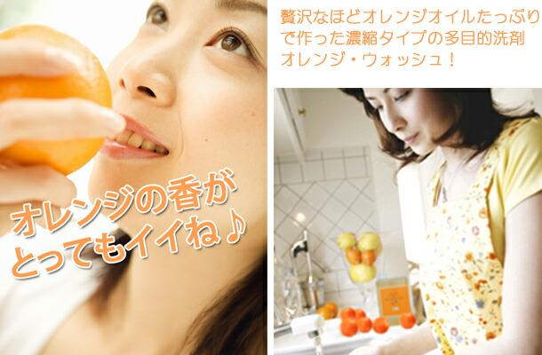 オレンジオイルたっぷりの植物由来の多目的洗剤。食器洗いに最適です。