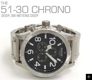 NIXON 腕時計 ニクソン 51-30 CHRONO NA083000-00 ブラック 横置き