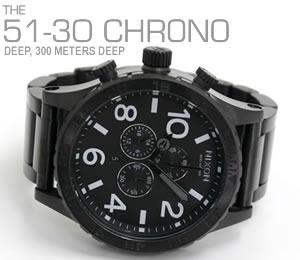 NIXON ニクソン 腕時計 51-30 CHRONO NA083001-00 オールブラック 横置き