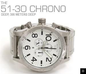 ニクソン NIXON 腕時計 51-30 CHRONO NA083100-00 ホワイト 横置き