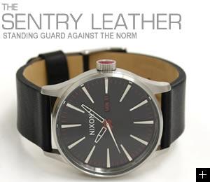 NIXON ニクソン 腕時計 SENTRY LEATHER NA105000-00 ブラック 横置き