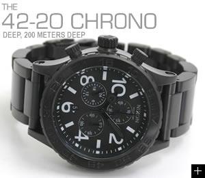 ニクソン NIXON 腕時計 42-20 CHRONO NA037001-00 オールブラック 横置き