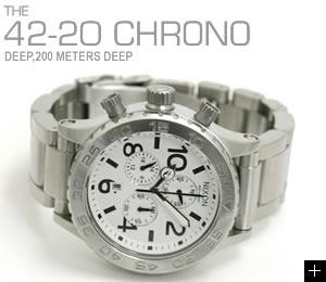 NIXON ニクソン 腕時計 42-20 CHRONO NA037100-00 ホワイト 横置き