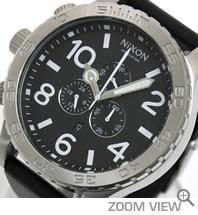 NIXON 腕時計 ニクソン 51-30 CHRONO LEATHER NA124000-00 ブラック 文字盤