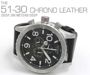 NIXON 腕時計 ニクソン 51-30 CHRONO LEATHER NA124000-00 ブラック モデル