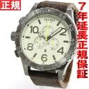 Nixon NIXON 51-30 Chrono leather】all 51-30 CHRONO LEATHER watch men's chronograph gunmetal / Brown NA1241388-00