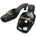 Monogram Louis Vuitton Louis Vuitton pumps (36) ◆ black x Gold canvas x enamel x leather ◆ popular ◆-n4304