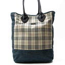 Burberry ◆ BURBERRY BLACK LABEL ◆ quality goods ◆ nova checked pattern ◆ tote bag ◆ cotton X leather ◆ beige X blue ◆ T6085