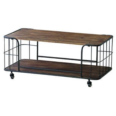 送料無料 センターテーブル ローテーブル テーブル ヴィンテージ 木製 収納棚 木目 モダン キャスター付き おしゃれ