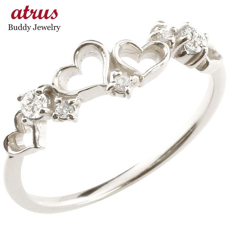 オープンハート リング ダイヤモンドダイヤ ピンキーリング 指輪 ホワイトゴールドk18 華奢リング 重ね付け 18金 レディース