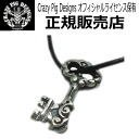 cpd760 with crazy pig design (Crazy Pig Designs)/ Small Tudor key pendant cpd-760 leather lace necklace