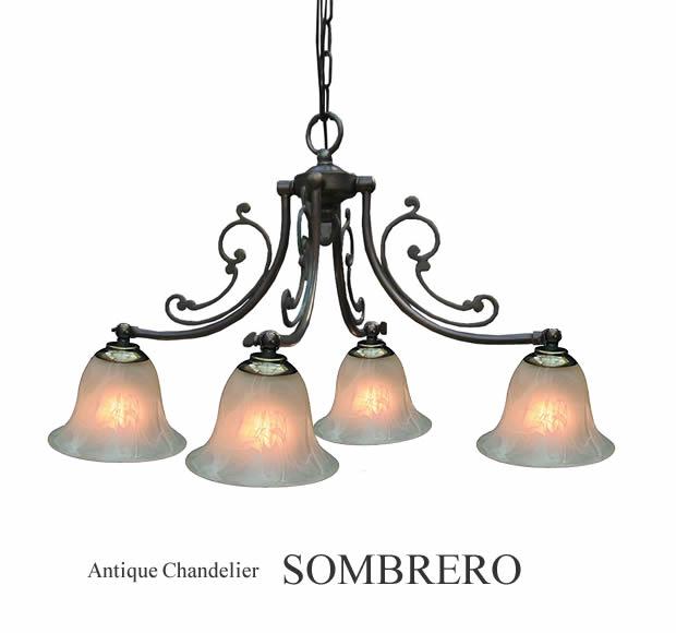 4灯アンティークシャンデリア【SOMBRERO】ソンブレロ
