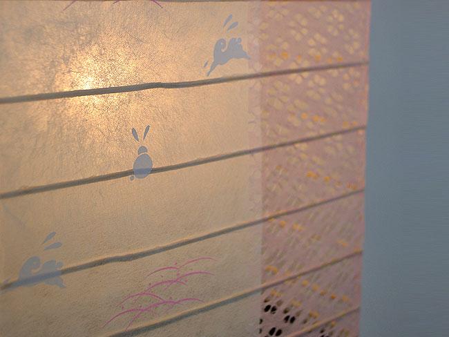 和紙 1灯 フロアライト/うさぎピンク小梅 ツインカラー SS-3082 和室 彩光デザイン