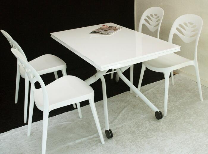 高さも広さも変えられる伸長式昇降テーブル