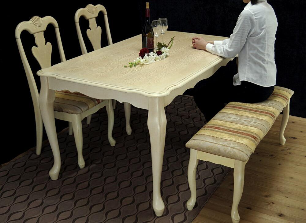クィーンアン調ダイニングテーブルベンチセット