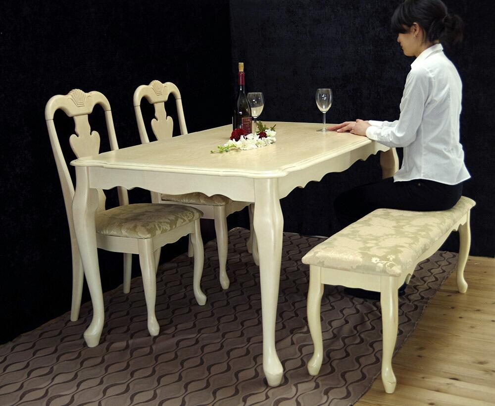 アンティークアイボリー150cmダイニングテーブルベンチセット