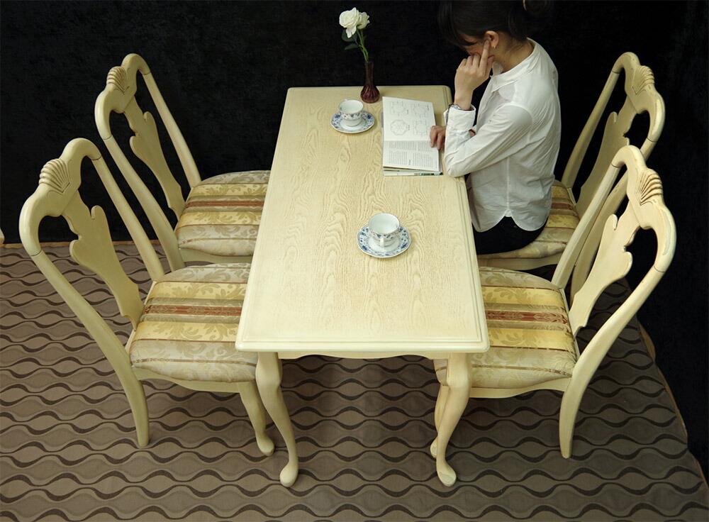 120巾アンティークホワイトテーブルセット