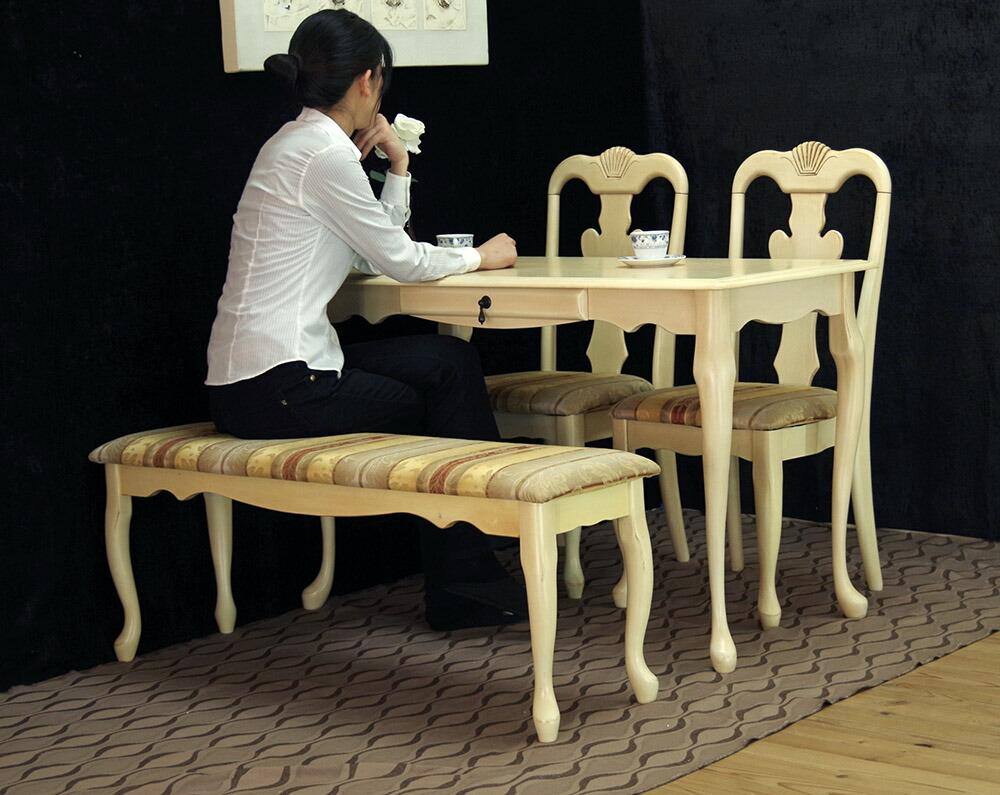 猫脚ミルキーホワイトテーブルセット