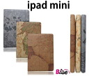 ●iPad mini notebook type leather-like case / map pattern / cover /1831