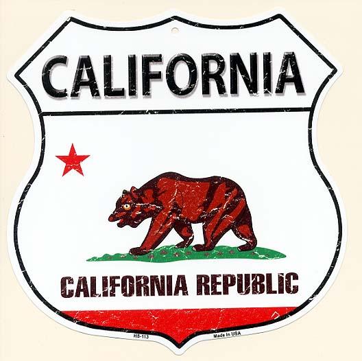 カリフォルニア州★CALIFORNIA・標識型・州旗柄★アメリカンブリキ看板