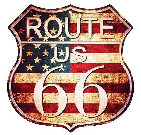 ルート66★アメリカンブリキ看板★まんま標識型・レトロ調の星条旗カラー