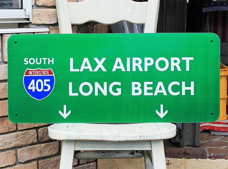 【送料無料】アメリカの高速道路の標識★405号線・ラックスエアポート・ロングビーチ★トラフィックサイン