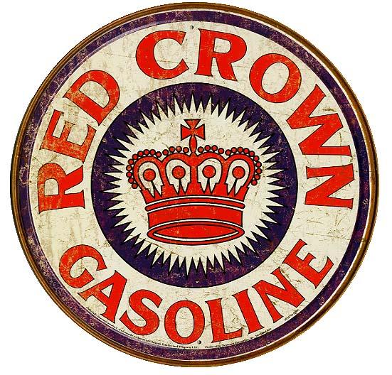レッドクラウン・ガソリン★ラウンド(円形)・レトロシリーズ★REDCROWNGASOLINE★アメリカンブリキ看板