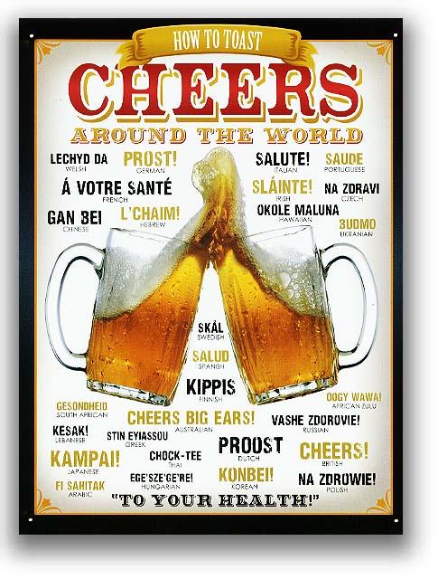 BEER★ビールで乾杯(CHEERSAROUNDTHEWORLD)★アメリカンブリキ看板