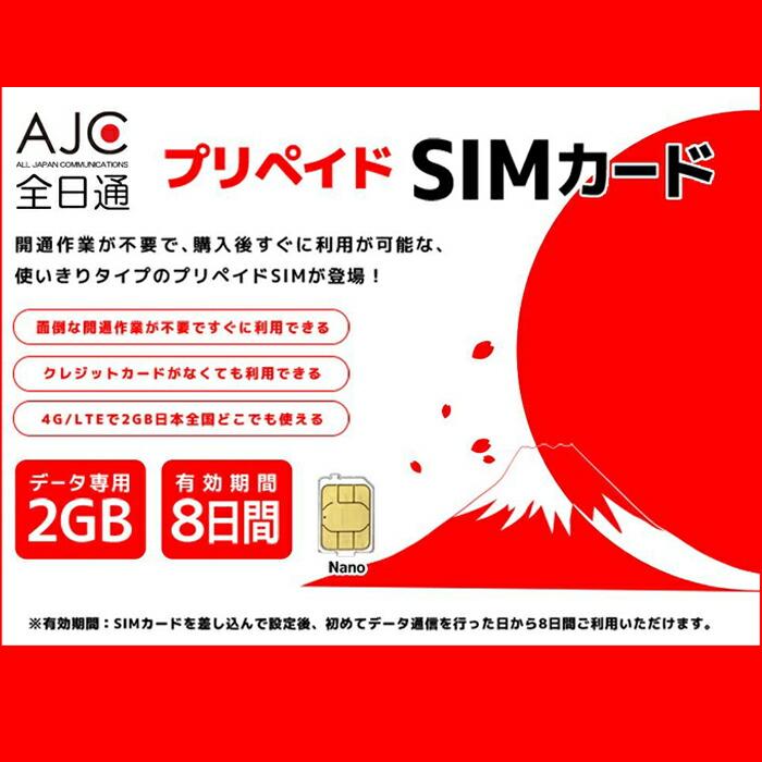 全日通 SIM カード 2GB 8日間 LTE ドコモ データ専用
