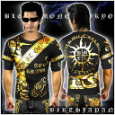 Ringtone after view in & points 10 times * MBT-13008 black 1 (black x Gold) ■ Yakuza & アウトローブランド - BLOOD MONEY TOKYO-short sleeve T shirt / Sun ■ evil Luo evil Luo system OLA OLA of Yakuza ヤンキーチンピラ bad Choi gang right-wing evil gangster Champ roa