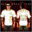 Ringtone crosses at point view & 2 x * 14010 White x Gold ■ Yakuza & outlaw brand - BLOOD MONEY TOKYO-short sleeve T shirt / patriotic ■ large size / men's Men's evil Luo evil Luo of OLA OLA series half-gure you Carague fellow lug bad runaway tri