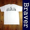 BRAVER bureiba biker West Coast series printed short sleeve t-shirt White x black